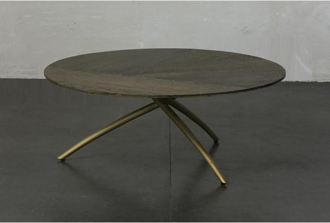 Dark Oak + Gold Tripod Round Coffee Table - 360