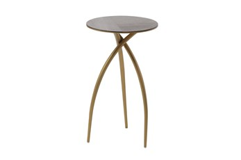 Dark Oak + Gold Tripod Round Accent Table