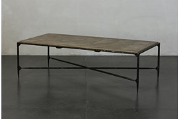 Elm + Black Rectangle Metal Coffee Table