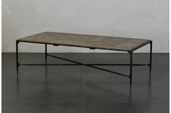 Elm + Black Rectangle Metal Coffee Table