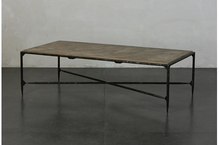 Elm + Black Rectangle Metal Coffee Table - Main