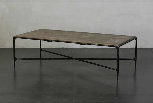 Elm + Black Rectangle Metal Coffee Table - 360