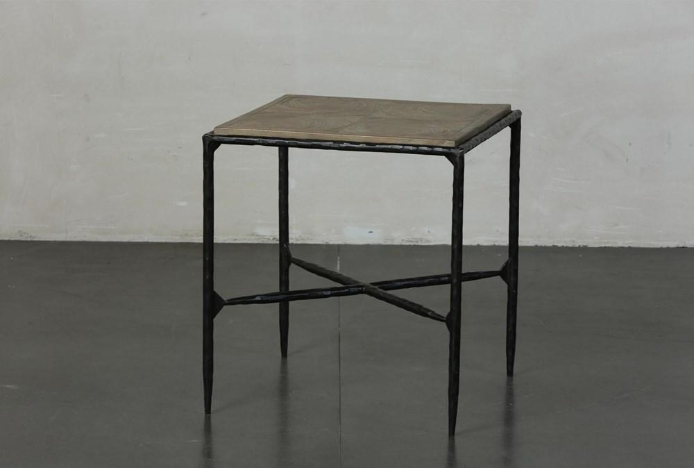 Elm + Black Square Metal Accent Table