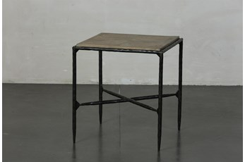 Elm + Black Square Metal Accent Table