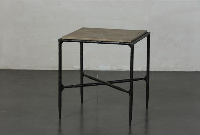 Elm + Black Square Metal Accent Table - 360