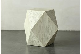 Faceted Antique White End Table