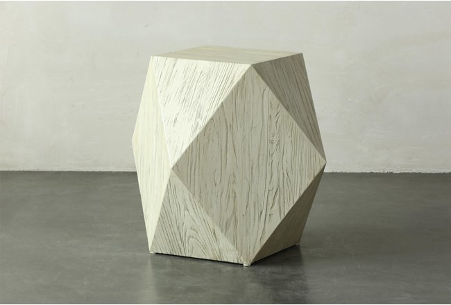 Faceted Antique White End Table - 360