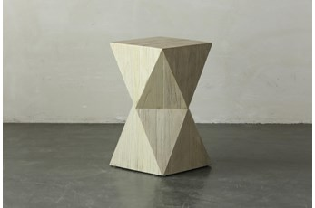 Faceted Antique White Square Accent Table