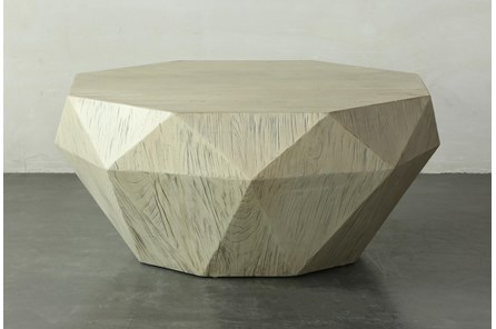 Faceted Antique White Elm Coffee Table - Main