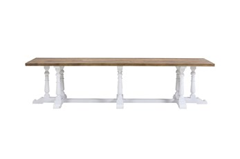 126 Inch Reclaimed Pine + Antique White Dining Table