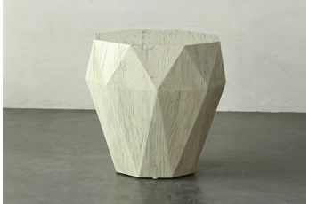 Faceted Antique White Elm Accent Table