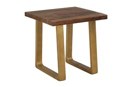 Reclaimed Pine + Antique Gold Accent Table