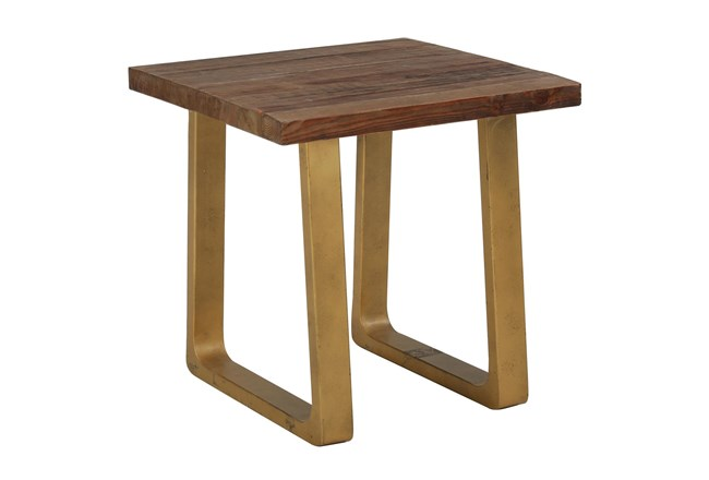 Reclaimed Pine + Antique Gold Accent Table - 360