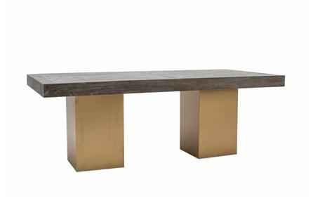 Dark Elm + Brass Rectangle Dining Table - Main