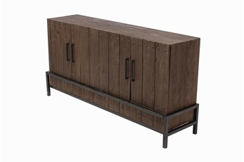 "Tall Dark Pine + Metal 4 Door 71"" Sideboard"