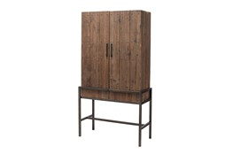 Tall Dark Pine + Metal Cabinet