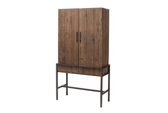 Tall Dark Pine + Metal Cabinet  - 360