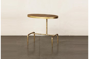 Oval Elm + Gold Leg Accent Table