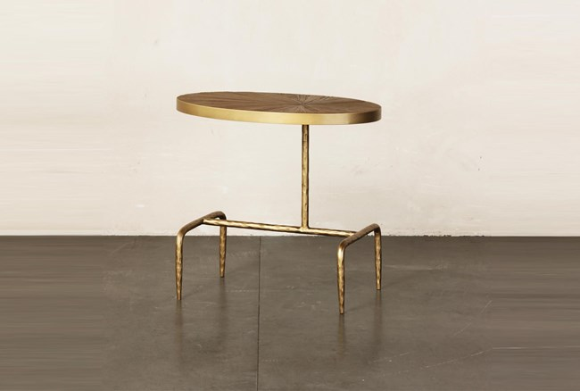 Oval Elm + Gold Leg Accent Table - 360