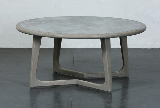 Grey Elm Round Coffee Table - 360