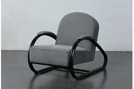 Grey Uphlostered Curved Metal Accent Chair