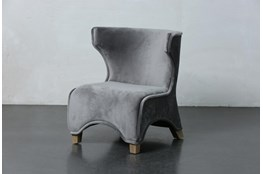 Grey Velvet Curved Leg Accent Chair