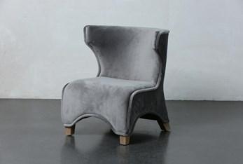 Grey Velvet Curved Leg Accent Chair