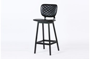 """Black Quilted 45"""" Bar Stool"""
