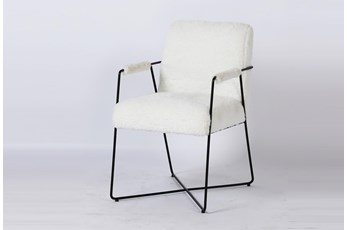 White Faux Fur Metal Arm Chair