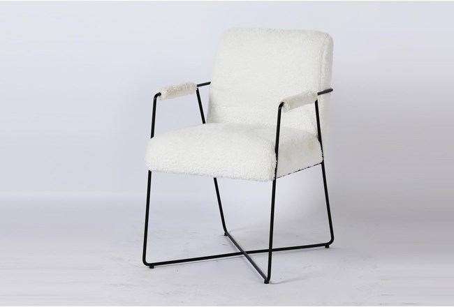 White Faux Fur Metal Arm Chair - 360