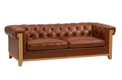 Brown Leather Tufted Wood Arm Sofa
