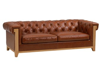 """Brown Leather Tufted Wood Arm 91"""" Sofa"""