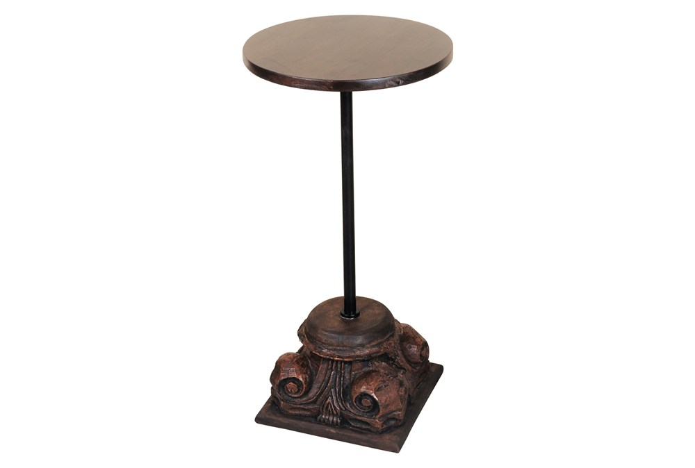 Wood + Metal Small Accent Table