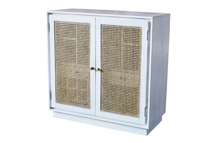 White Wash Wine Cabinet With Cane Doors - Main