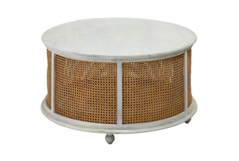 White Wash Round Wood + Metal Coffee Table