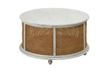 White Wash Round Wood + Metal Coffee Table