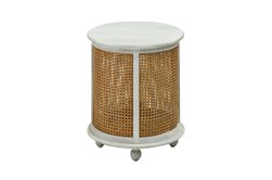 White Wash Round Wood + Metal Accent Table