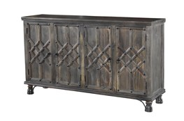 "Antique Brown 4 Door Piece Front 70"" Sideboard"