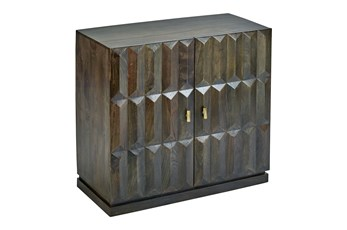 Dark Brown Faceted 2 Door Cabinet