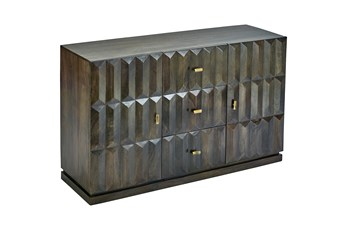 Dark Brown Faceted 2 Door 3 Drawer Sideboard