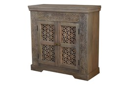 White Wash Carved Cut Out 2 Door Cabinet
