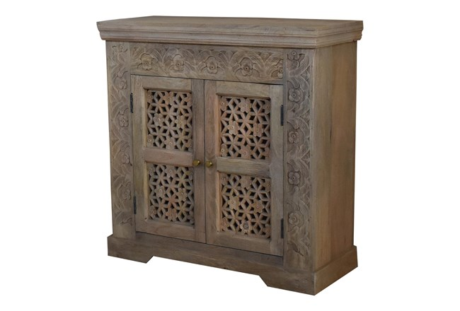 White Wash Carved Cut Out 2 Door Cabinet  - 360