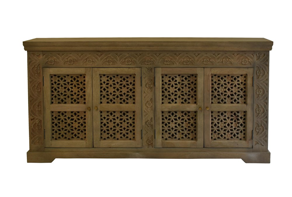 White Wash Carved Cut Out 4 Door Sideboard