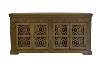 "White Wash Carved Cut Out 4 Door 80"" Sideboard"