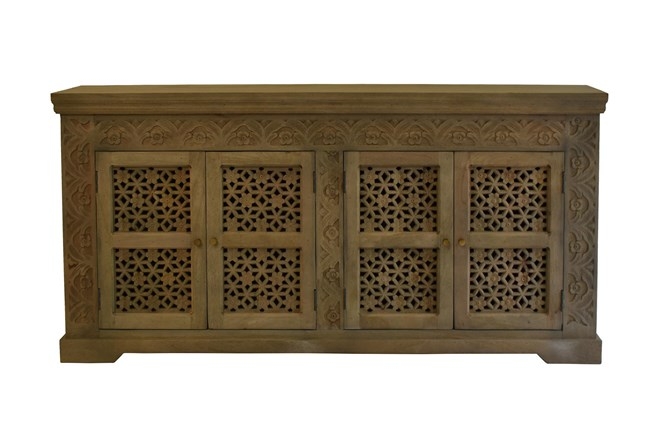 White Wash Carved Cut Out 4 Door Sideboard  - 360
