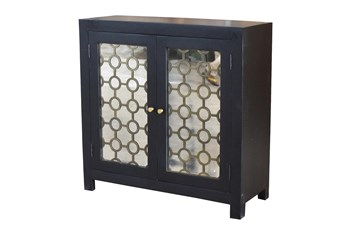Black + Brass Mirrored Cabinet