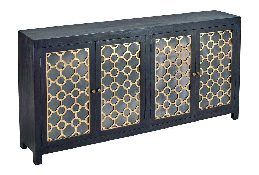 """Black + Brass Mirrored 4 Door 80"""" Sideboard"""