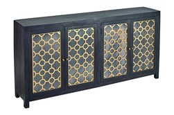 "Black + Brass Mirrored 4 Door 80"" Sideboard"