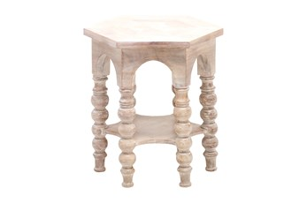 Light Wood Round Pilar Accent Table