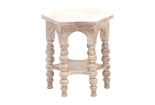 Light Wood Round Pilar Accent Table  - 360